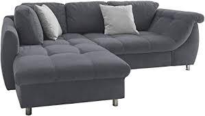 lifestyle4living ecksofa mit schlaffunktion in anthrazit grau mit großen rücken kissen microfaser stoff gemütliches l sofa mit longchair im