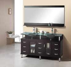 61 inch double sink bathroom vanity in espresso with glass top and