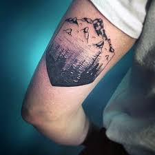 Abstract Geometric Forest And Mountain Black Ink B Cep Tattoo On Man