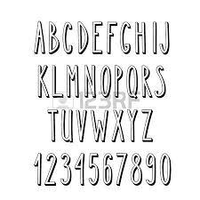 Doodle Narrow Alphabet Vector Simple Hand Drawn Letters Thin San Serif 3d Font