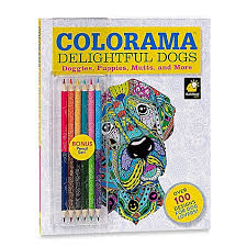 ColoramaTM Delightful Dogs Coloring Book With Pencils