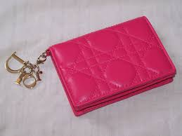 christian dior lady dior multi card cannage pink leather wallet