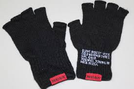 mean clothing company mean fingerless wool gloves black