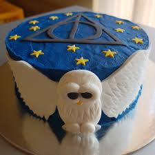 harry potter themed buttercream cake with 2d fondant hedwig