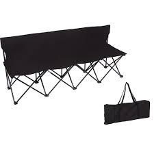 Trademark Innovations Portable 4-Seater Folding Black Team Sports Sideline  Chair