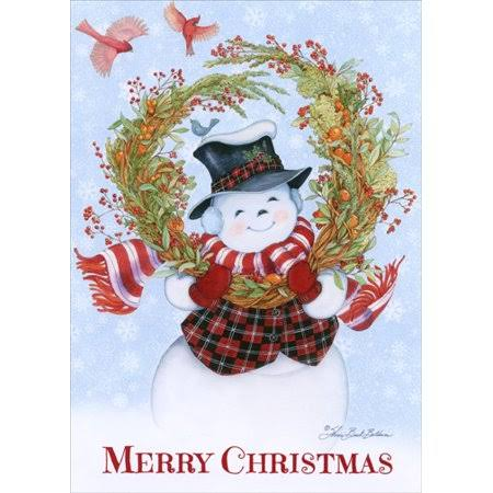 LPG Greetings Christmas Cards - Snowman's Wreath, 18ct