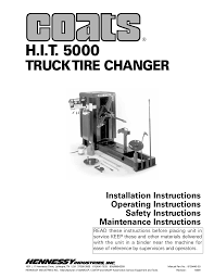 100 Truck Tire Changer COATS HIT 5000 User Manual 16 Pages