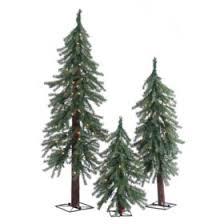 Pre Lit Alpine Trees 3 Piece Set