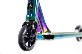 Front Wheel And Deck Of The Lucky Scooters Covenant Pro Scooter In Neo Chrome