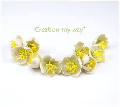 fleurs de cerisier blanc en pâte fimo création my way