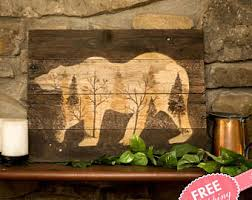 Log Cabin Art Rustic Wall Wood New For Home Decor Woodland