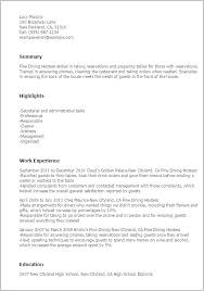 Restaurant Host Resume No Experience Hostess Examples Fast Food Sample Server Objective Samples Party