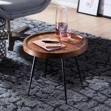 finebuy beistelltisch rund 46 x 40 x 46 cm sheesham massiv holz metall couchtisch industrial style echtholz tischchen wohnzimmer holztisch