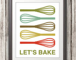 Whisk Print Poster Kitchen Sign Mid Century Art Quote