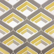 Metallic Tile Effect Wallpaper by Bold Yellow And Grey Shapes Outlined With Shiny Metallic Silver