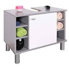 ricoo wm100 pl w waschbecken unterschrank badezimmer waschtisch klein holz hell grau türe weiß badschrank für bad gäste wc ohne becken