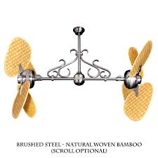 twin star ii dual motor ceiling fan with woven bamboo blades 12