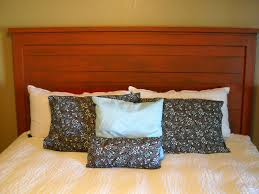 Diy King Size Headboard Bedroom Wood Furniture Wonderful Brown Teak Reclaimed With White Cover Bedding Feat Cushion In Gray