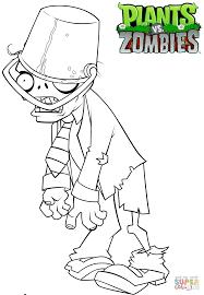 Раскраска Растения против Зомби Зомби с ведром Раскраски для