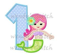 mermaid applique birthday number 1 machine embroidery design from