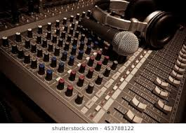 Music Instruments Or Dj Conceptthe Microphone And Headphones On Sound Mixer Background