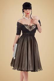 50s cafe noir dress in black and champagne