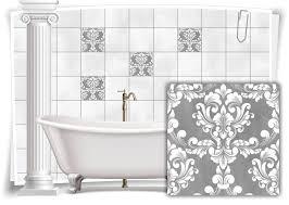 fliesen aufkleber fliesen bilder damast barock nostalgie retro floral grau bad wc deko