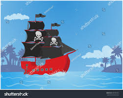 100 Design A Pirate Ship Tropics Vector Illustration Flat Stock Vector Royalty