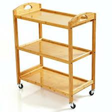 servierwagen küchenwagen aus 100 bambus mit 3 etagen ökologischer rollwagen inkl flaschenhalter