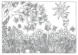 Splendid Design Inspiration Coloring Pages For Adults Nature Items Similar To Garden Scene Page