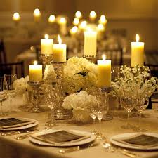 Pillar Candle Centerpieces Low With Candles