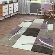 moderner teppich wohnzimmer kariert trendig pastell lila