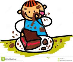 Kid eating cake clipart