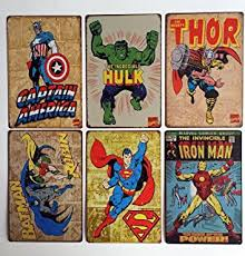 Vintage Superhero Wall Decor by Amazon Com Batman Retro Tin Sign 13x16 13x16 Home U0026 Kitchen