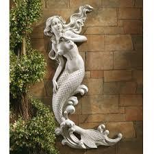 Outdoor Patio Wall Decor Mermaid Mounted Garden Statue