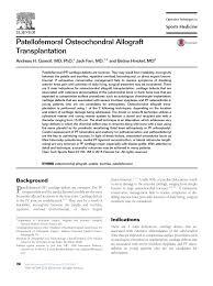si e orthop ique patellofemoral osteochondral allograft pdf available