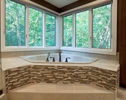bathroom glass tile tub