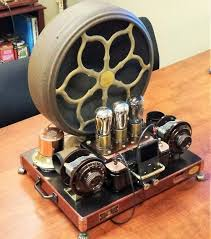 antique ipod mp3 lifier and speaker made from 1920s