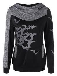 Halloween Date 2014 Nz by Halloween Bat Print Marled Hoodie Heather Gray Xl In Sweatshirts