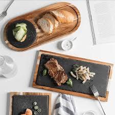 kreative schwarz natürliche rock holz küche platte geschirr speisen küche kochen werkzeug 1pc