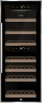 caso winecomfort 38 black weinkühlschrank für 38 flaschen 2 zonen auf 5 20 c einstellbar touch led beleuchtet freistehend uv filterglas schwarz