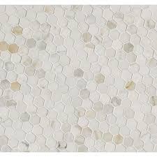 calacatta gold italian marble hexagon 1 x 1 polished mosaic tile