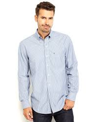 izod striped button down shirt in blue for men lyst