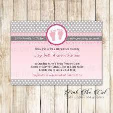 25 Printed Invitations Footprints Invitation Glitter Brown Pink Baby
