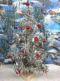Silver Tinsel Christmas Tree Vintage Shiny Red Ornaments Small