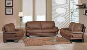 Living Room Rustic Furniture Brown Leather Sofa