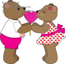A Teddy Bear Couple a Boy and Girl Licking from the Same Heart Shaped Lollipop Clipart Image