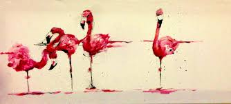 Oil Canvas Simple Abstract Painting Flamingos Line