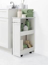 bathroom floor storage rolling cabinet organizer bath toilet