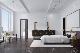 weißes schlafzimmer interieur mit einem großen bett mit einer weißen decke einem dunklen holzboden einem loft fenster und einem schrank mit einem